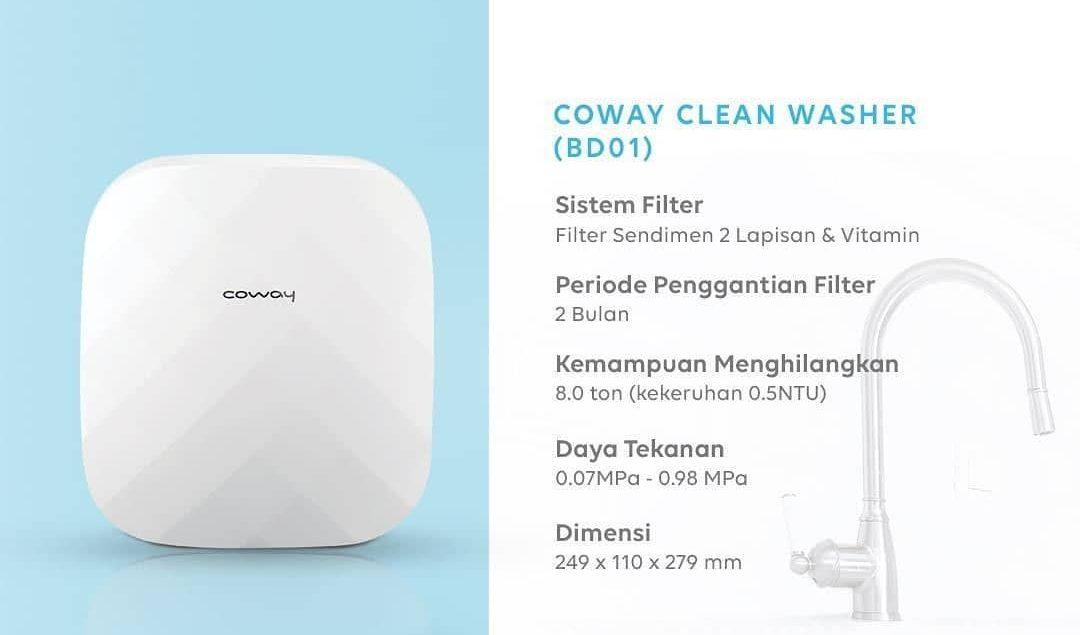 Penuhi kebutuhan air bersih-mu dengan Clean Washer dari Coway.  Dengan 3 tahap penyaringan air mampu...
