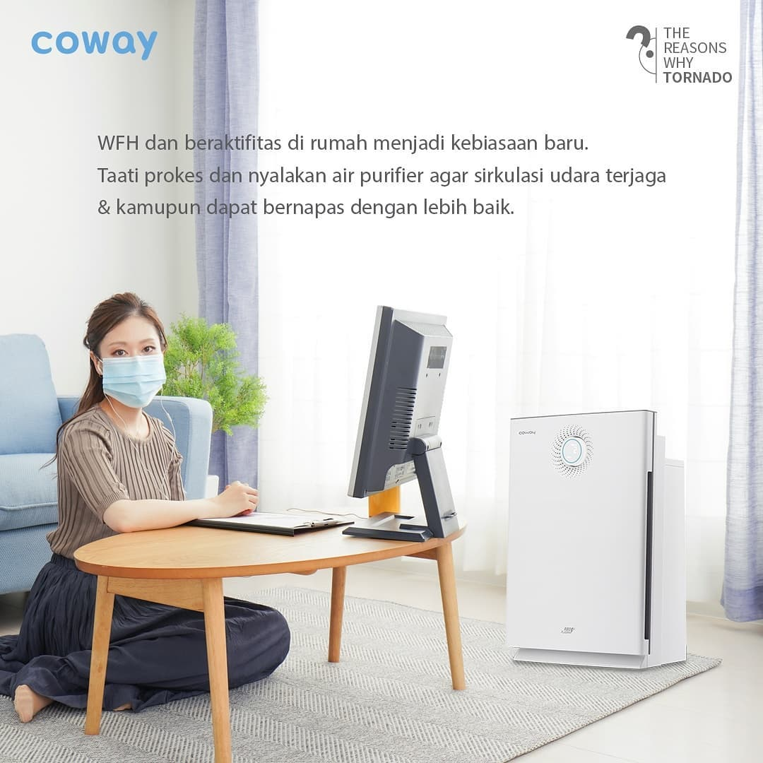 Coway Jakarta - 1629000935 365 Air Purifier dengan 6 tahap sistem HEPA Filter dilengkapi teknologi