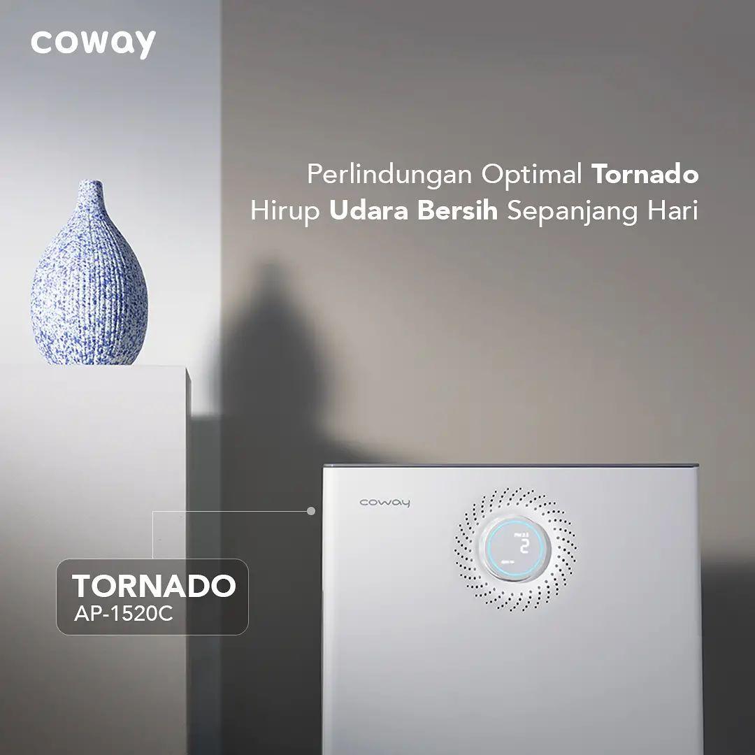 Coway Jakarta - Perlindungan optimal Tornado Membersihkan udara dari partikel PM25 dan gas
